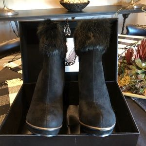 BCBG MaxAzria Black Suede Fur Topped Short Boots